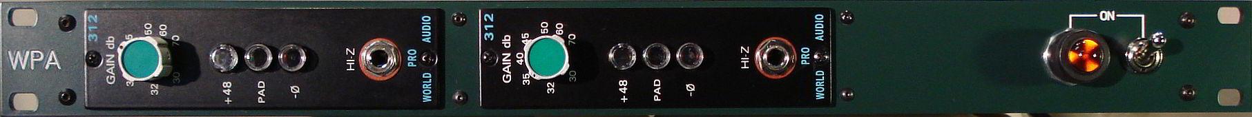 API 312 mic pre x2 racked