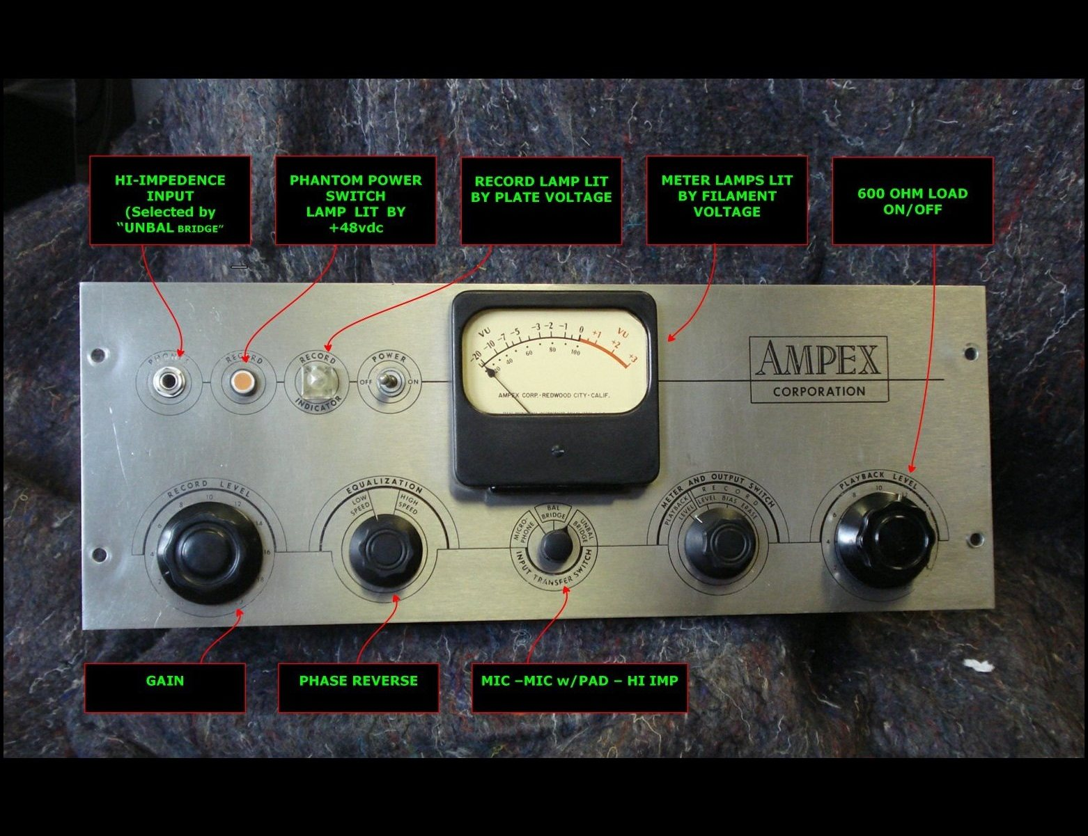 Ampex 350 Mic Pre Optimation Front Panel Control Reassignments