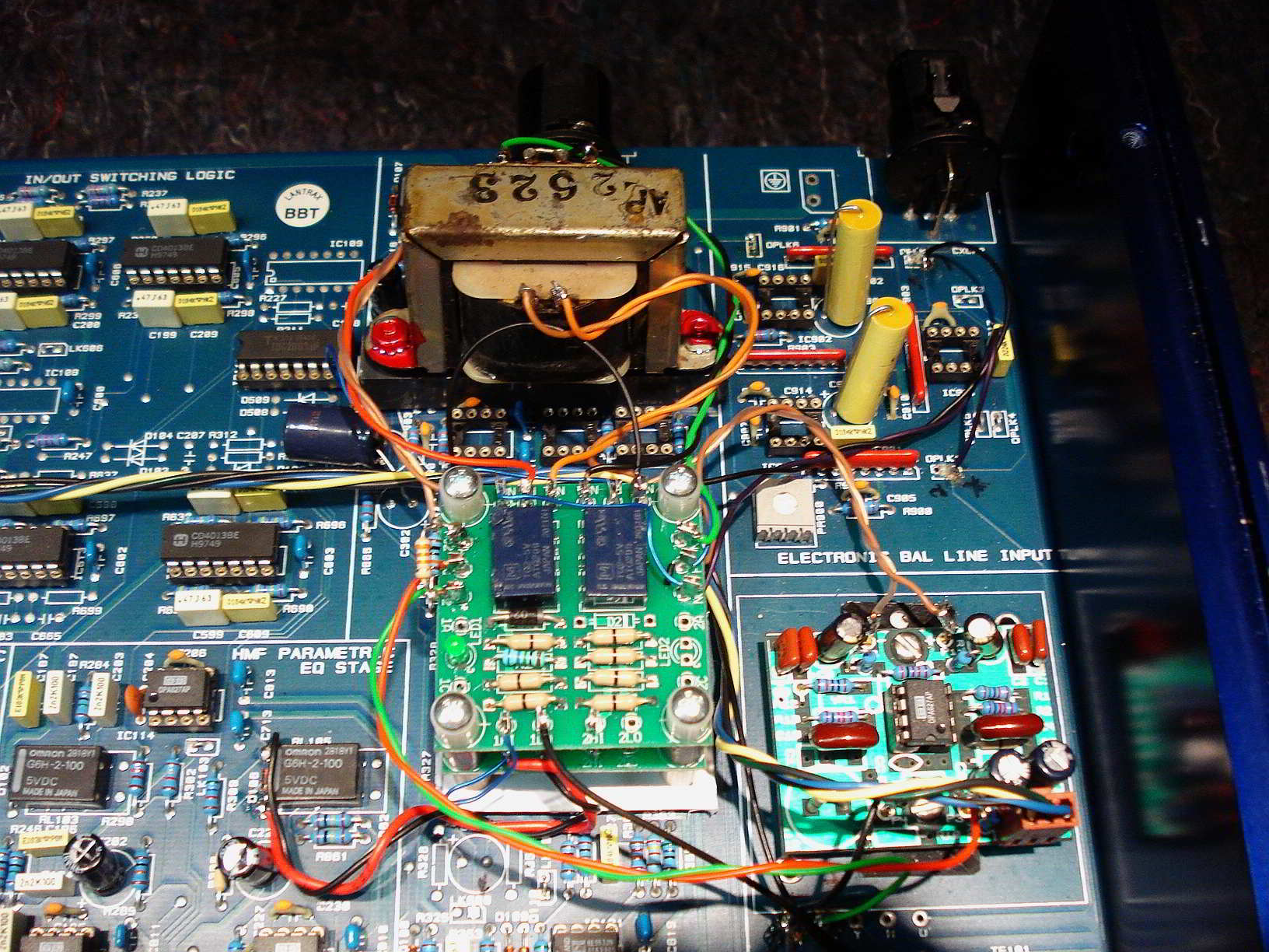Close up showing changes to input and output circuit and bypass relays