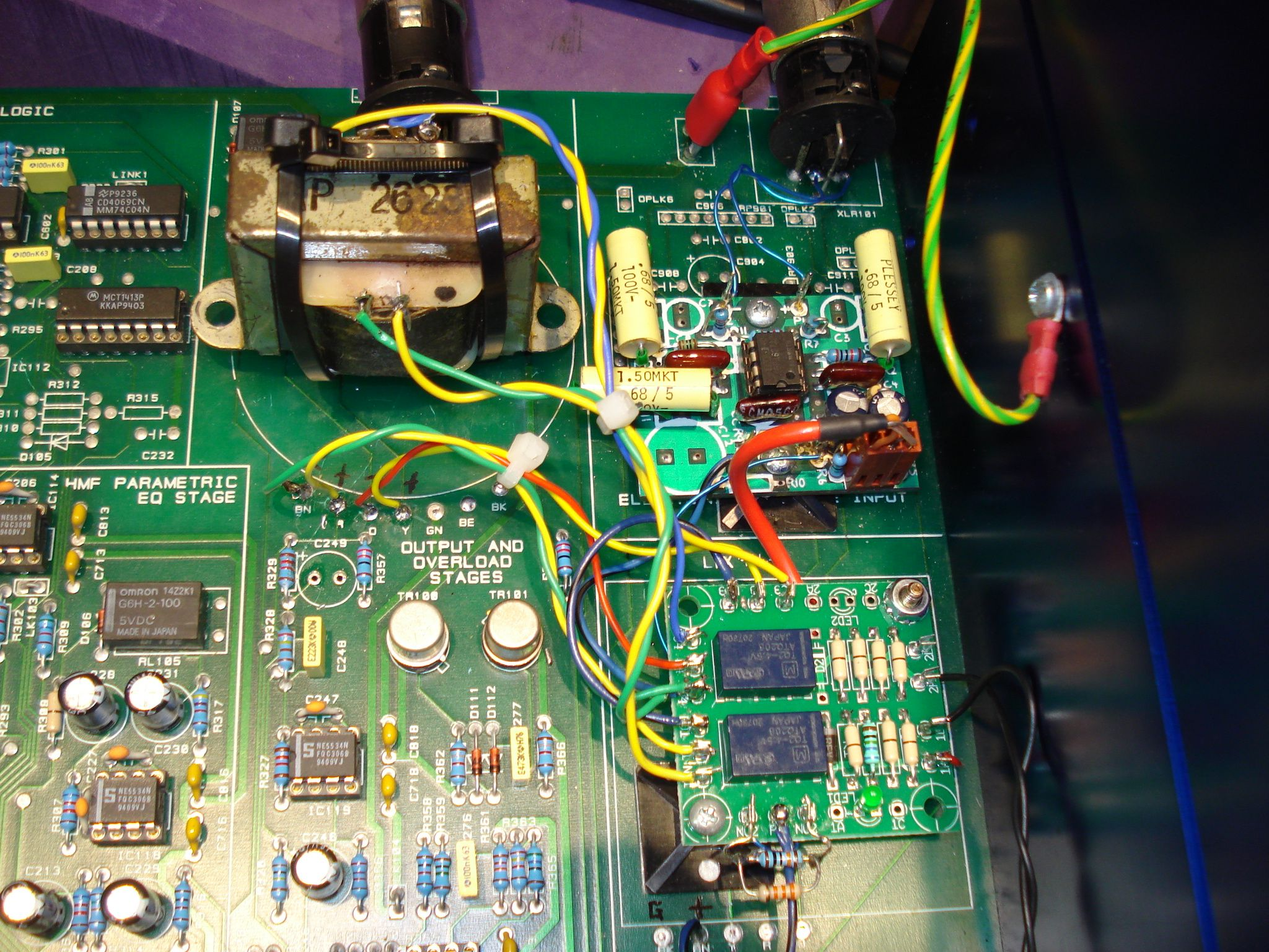 Close up showing changes to input and output circuit and I/O bypass relays