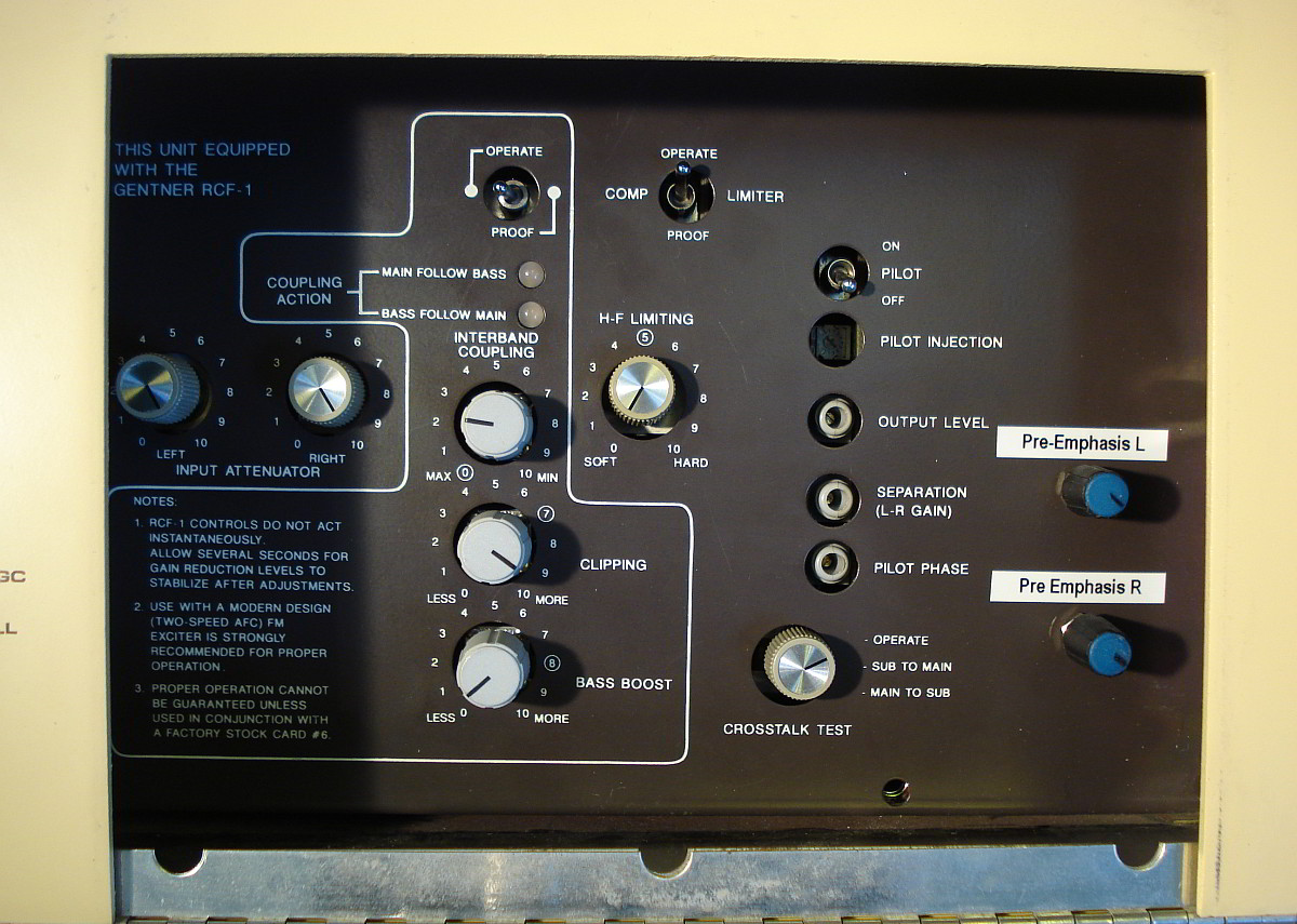 Orban 8100a - 8180A close up showing new controls for varying high frequency emphasis behind access panel